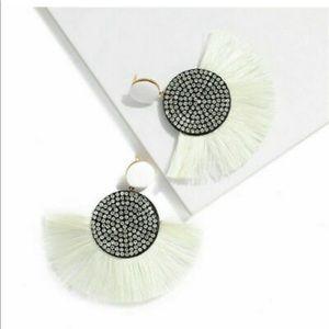 Post Drop Crystal Center White Fan Fringe Earrings